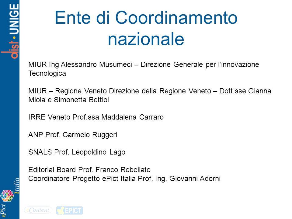 Ente di Coordinamento nazionale MIUR Ing Alessandro Musumeci – Direzione Generale per linnovazione Tecnologica MIUR – Regione Veneto Direzione della R