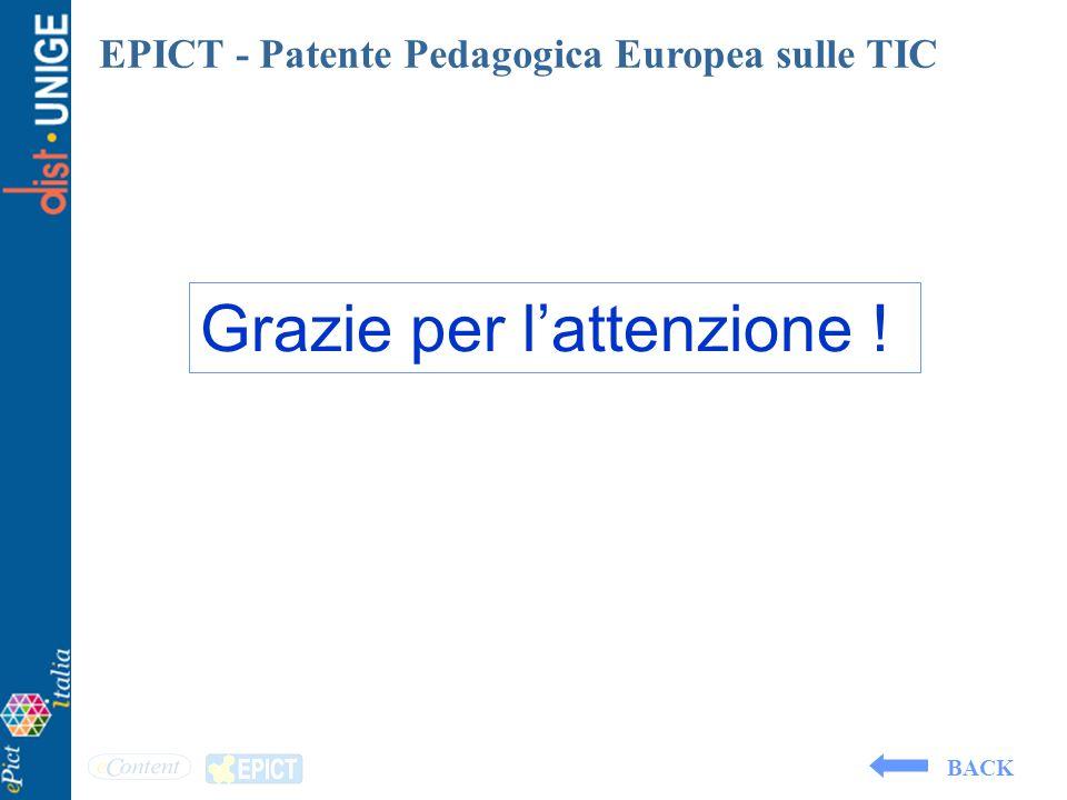 EPICT - Patente Pedagogica Europea sulle TIC Grazie per lattenzione ! BACK