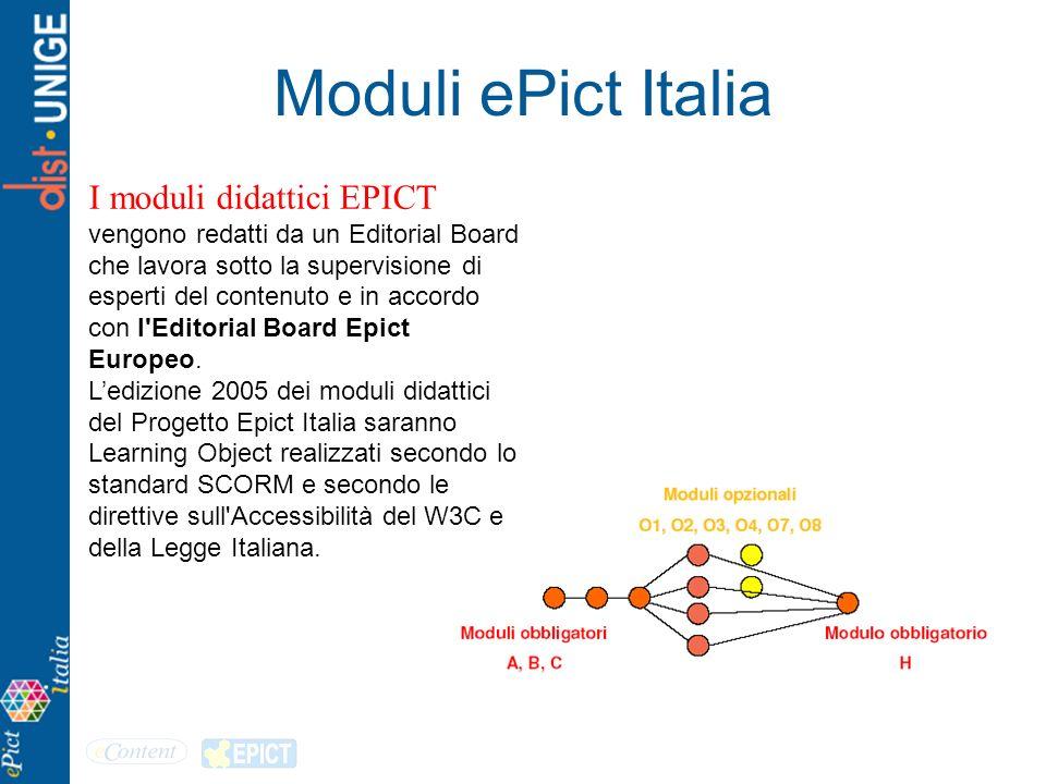 Moduli ePict Italia I moduli didattici EPICT vengono redatti da un Editorial Board che lavora sotto la supervisione di esperti del contenuto e in acco