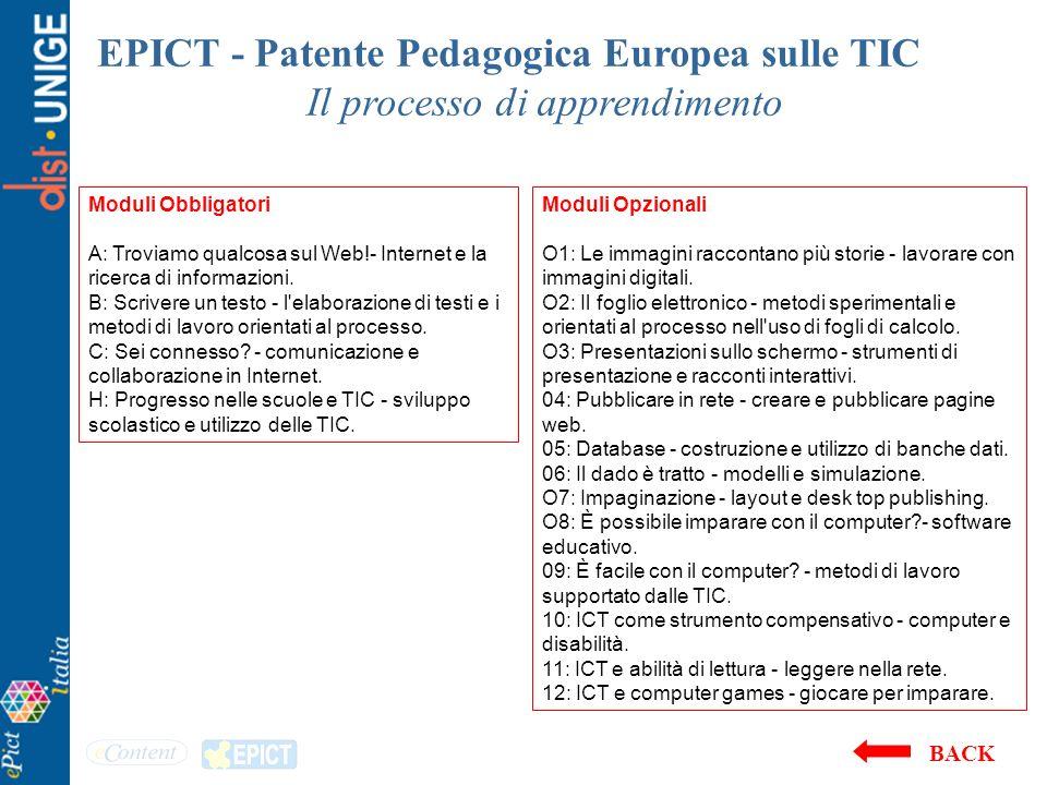 EPICT - Patente Pedagogica Europea sulle TIC Il processo di apprendimento Moduli Opzionali O1: Le immagini raccontano più storie - lavorare con immagi