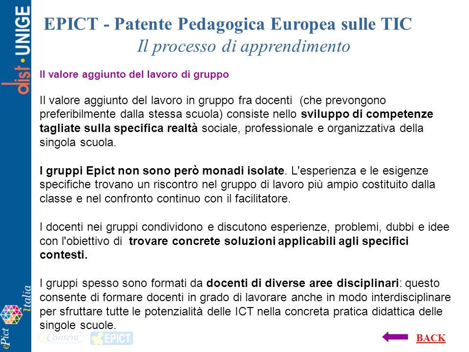 EPICT - Patente Pedagogica Europea sulle TIC Il processo di apprendimento Il valore aggiunto del lavoro di gruppo Il valore aggiunto del lavoro in gru
