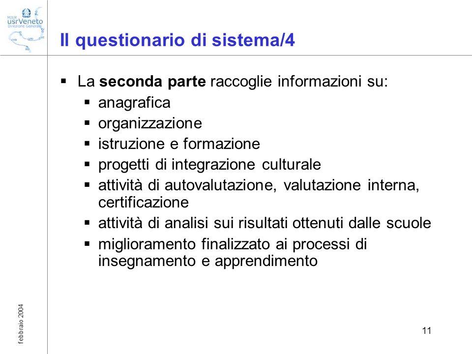febbraio 2004 11 Il questionario di sistema/4 La seconda parte raccoglie informazioni su: anagrafica organizzazione istruzione e formazione progetti d