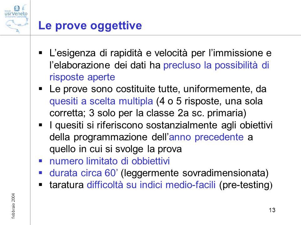 febbraio 2004 13 Le prove oggettive Lesigenza di rapidità e velocità per limmissione e lelaborazione dei dati ha precluso la possibilità di risposte a