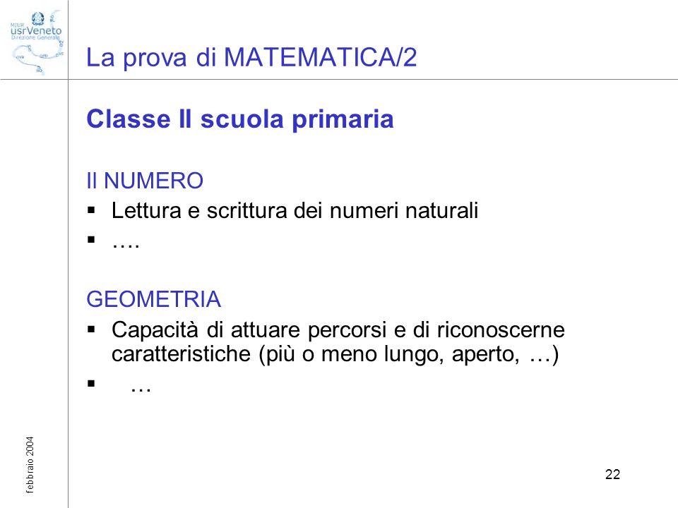 febbraio 2004 22 La prova di MATEMATICA/2 Classe II scuola primaria Il NUMERO Lettura e scrittura dei numeri naturali …. GEOMETRIA Capacità di attuare