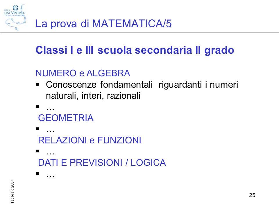 febbraio 2004 25 La prova di MATEMATICA/5 Classi I e III scuola secondaria II grado NUMERO e ALGEBRA Conoscenze fondamentali riguardanti i numeri natu