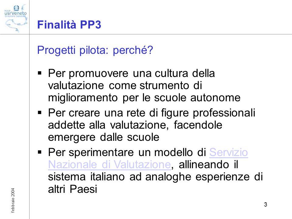 febbraio 2004 3 Finalità PP3 Progetti pilota: perché? Per promuovere una cultura della valutazione come strumento di miglioramento per le scuole auton