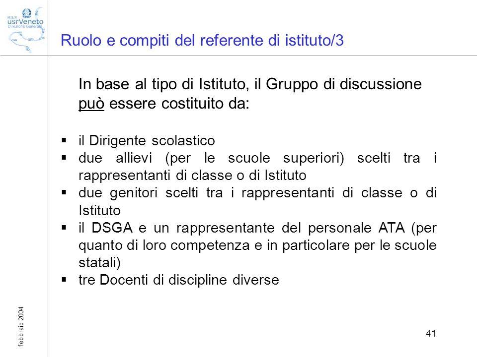 febbraio 2004 41 Ruolo e compiti del referente di istituto/3 In base al tipo di Istituto, il Gruppo di discussione può essere costituito da: il Dirige