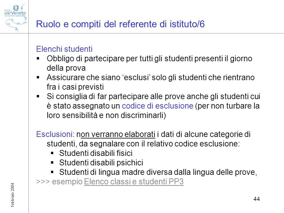 febbraio 2004 44 Ruolo e compiti del referente di istituto/6 Elenchi studenti Obbligo di partecipare per tutti gli studenti presenti il giorno della p