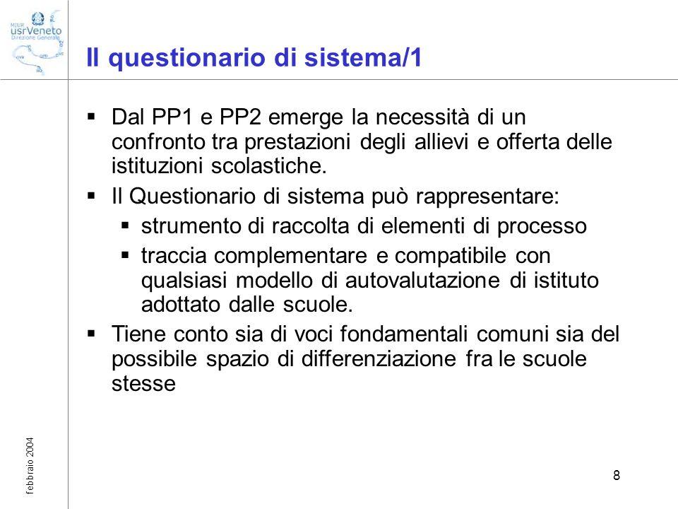 febbraio 2004 8 Il questionario di sistema/1 Dal PP1 e PP2 emerge la necessità di un confronto tra prestazioni degli allievi e offerta delle istituzio