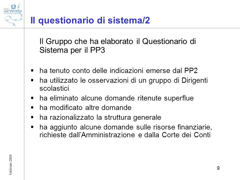 febbraio 2004 9 Il questionario di sistema/2 Il Gruppo che ha elaborato il Questionario di Sistema per il PP3 ha tenuto conto delle indicazioni emerse