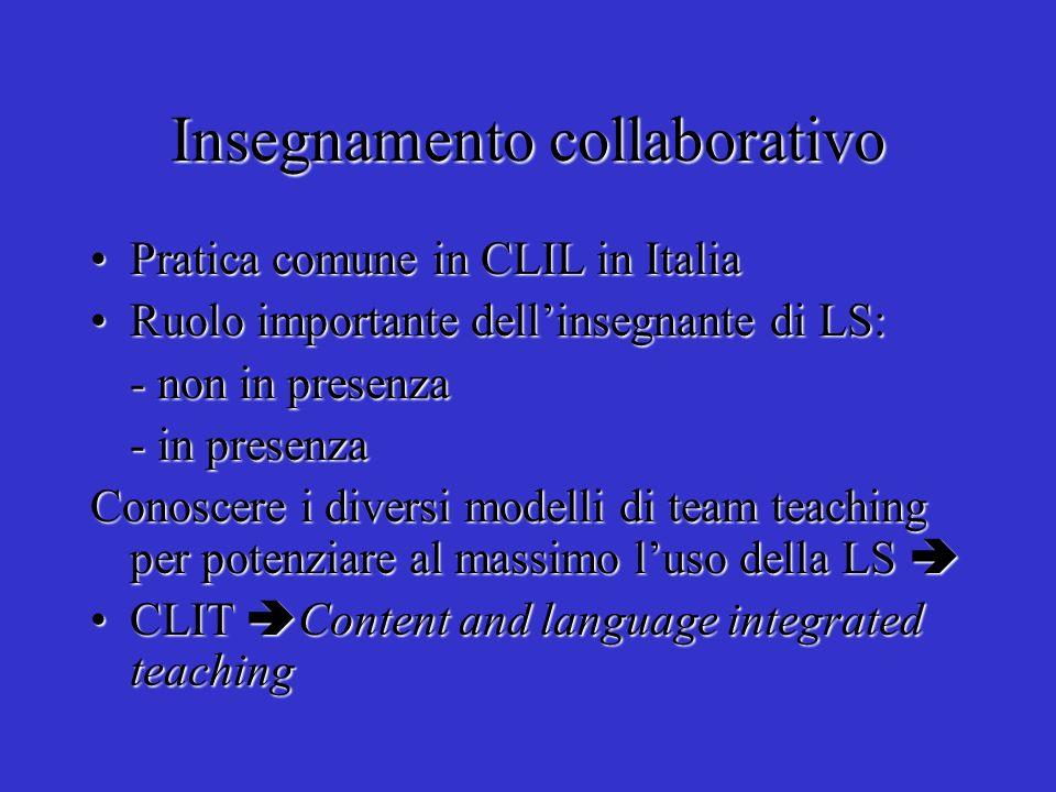 Insegnamento collaborativo Pratica comune in CLIL in ItaliaPratica comune in CLIL in Italia Ruolo importante dellinsegnante di LS:Ruolo importante del