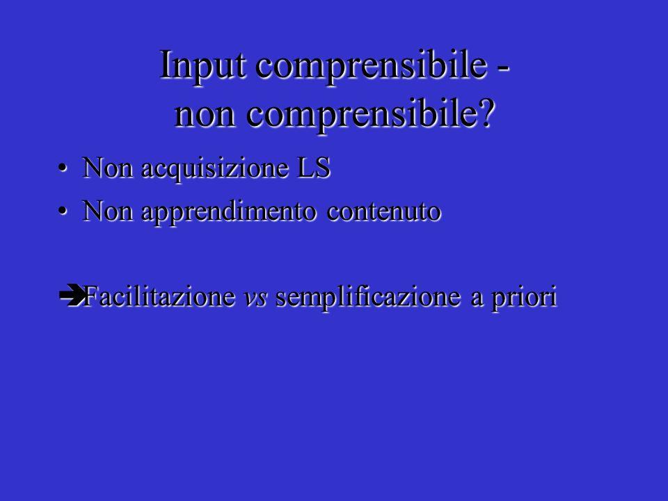 Input comprensibile - non comprensibile? Non acquisizione LSNon acquisizione LS Non apprendimento contenutoNon apprendimento contenuto Facilitazione v