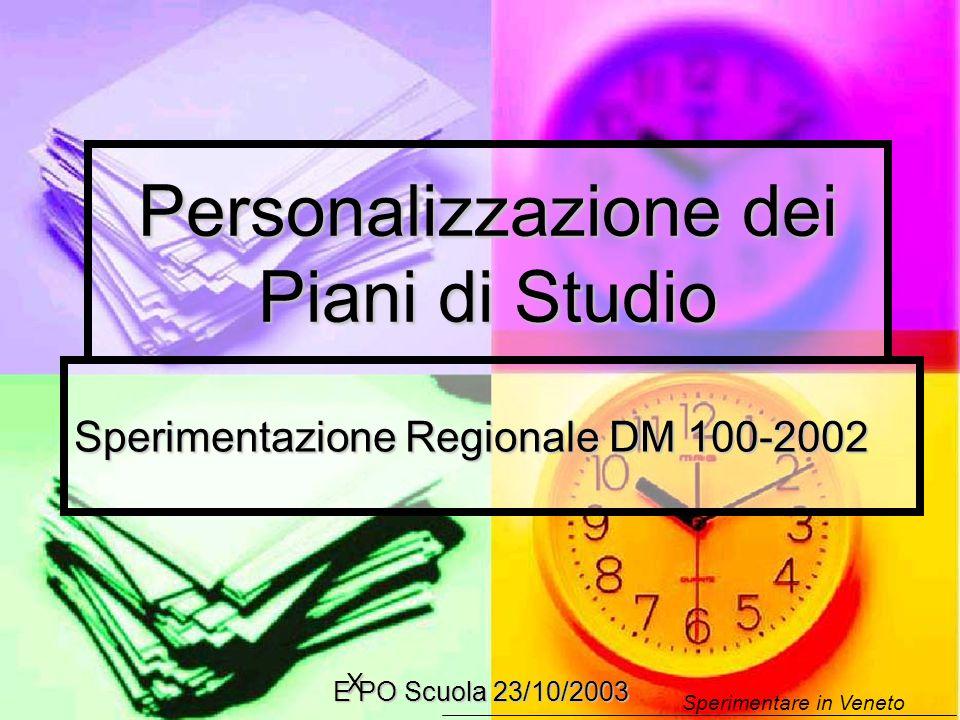 Sperimentare in Veneto X E PO Scuola 23/10/2003 Personalizzazione dei Piani di Studio Sperimentazione Regionale DM 100-2002