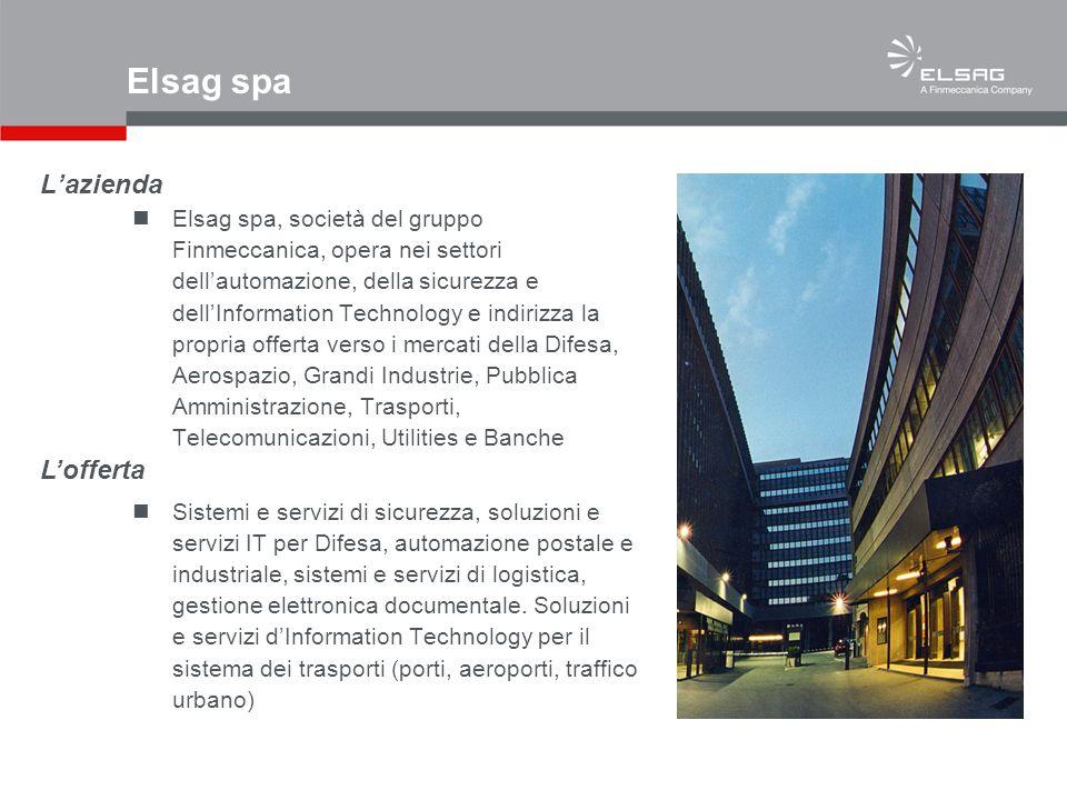 Lazienda Elsag spa, società del gruppo Finmeccanica, opera nei settori dellautomazione, della sicurezza e dellInformation Technology e indirizza la pr