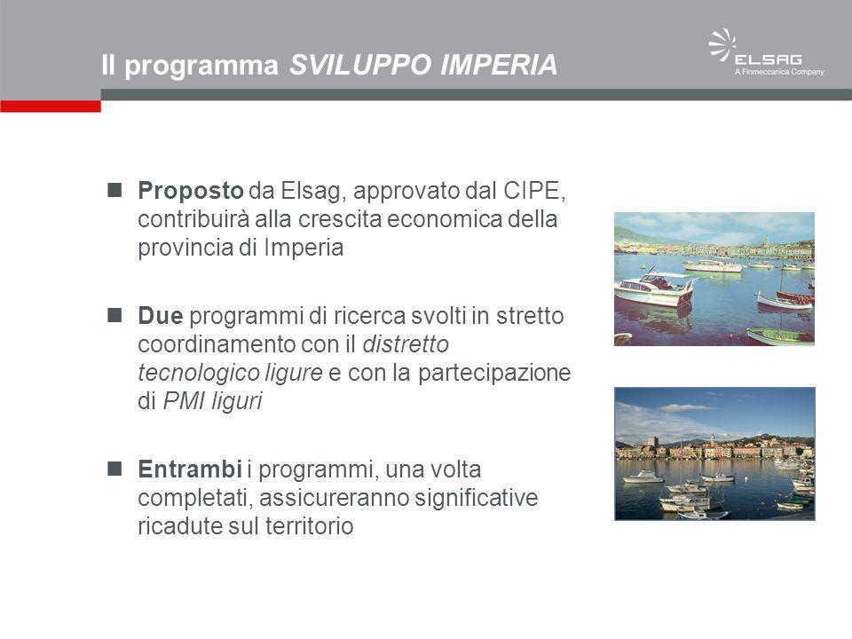 Il programma SVILUPPO IMPERIA Proposto da Elsag, approvato dal CIPE, contribuirà alla crescita economica della provincia di Imperia Due programmi di r