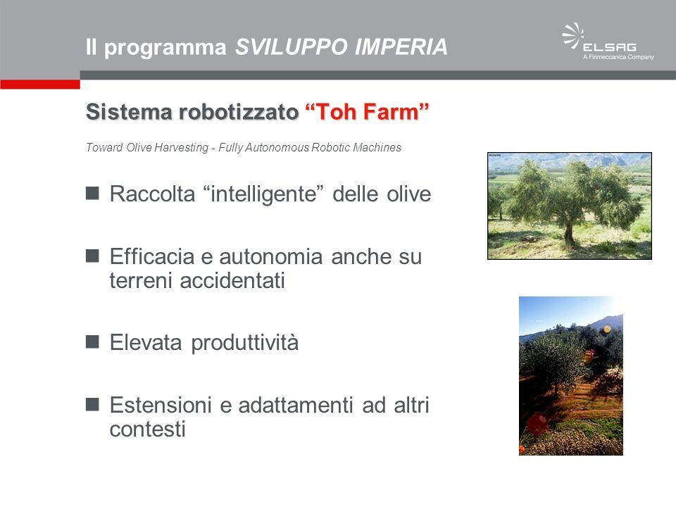 Raccolta intelligente delle olive Efficacia e autonomia anche su terreni accidentati Elevata produttività Estensioni e adattamenti ad altri contesti S