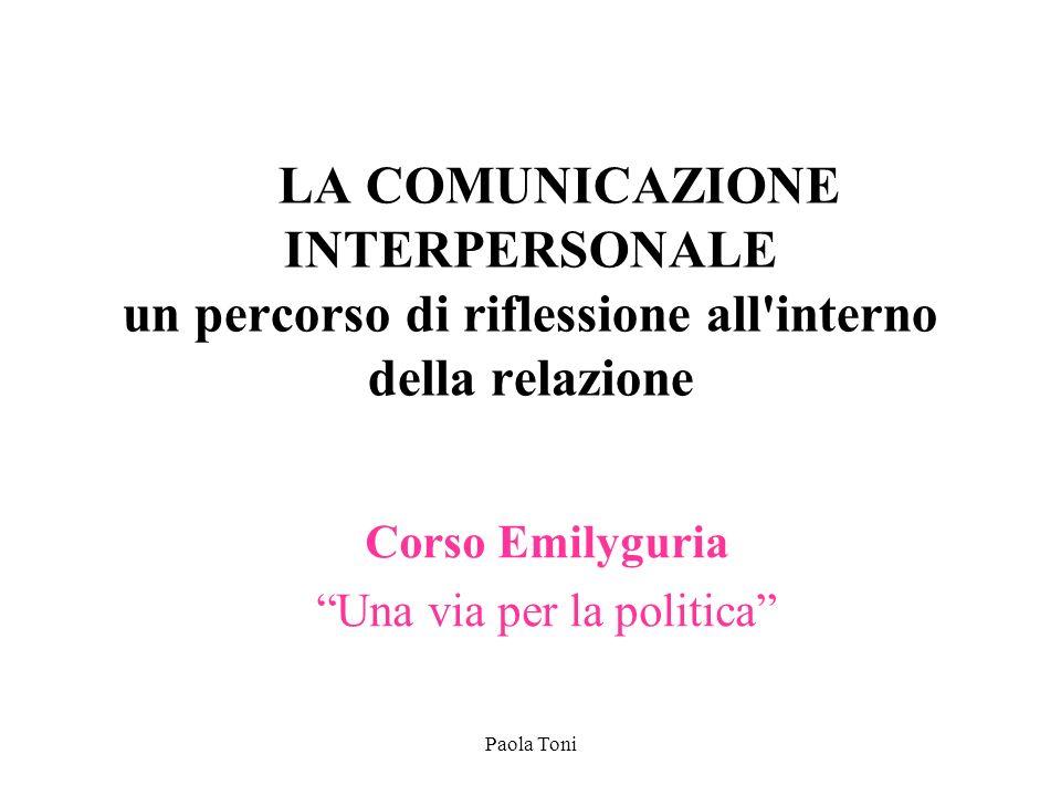 Paola Toni LA COMUNICAZIONE INTERPERSONALE un percorso di riflessione all'interno della relazione Corso Emilyguria Una via per la politica