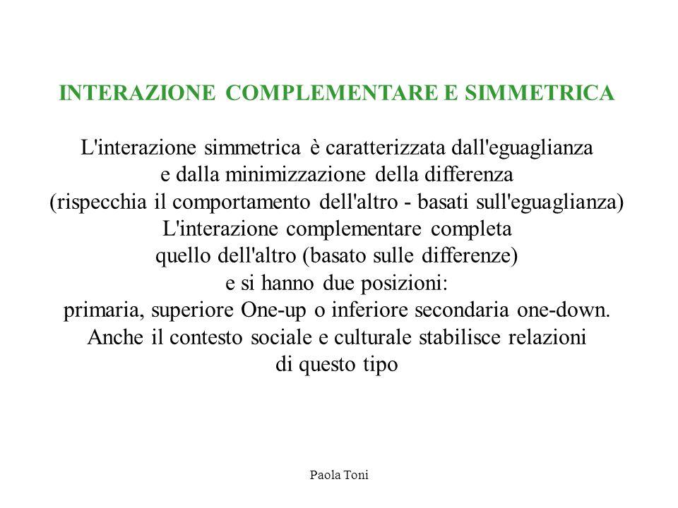 Paola Toni INTERAZIONE COMPLEMENTARE E SIMMETRICA L'interazione simmetrica è caratterizzata dall'eguaglianza e dalla minimizzazione della differenza (
