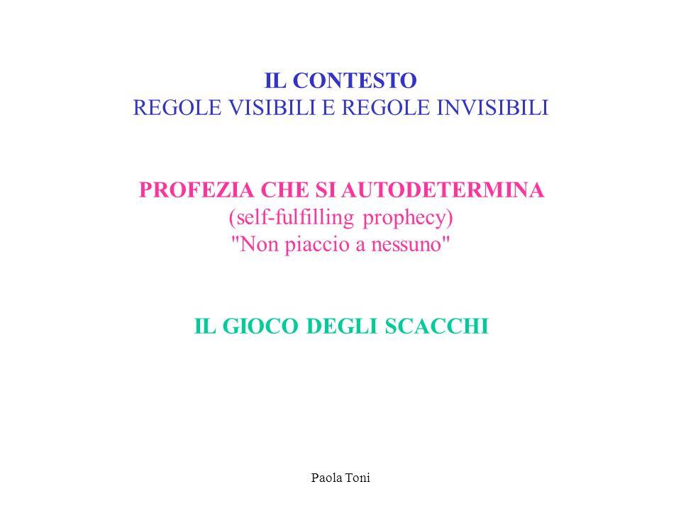 Paola Toni IL CONTESTO REGOLE VISIBILI E REGOLE INVISIBILI PROFEZIA CHE SI AUTODETERMINA (self-fulfilling prophecy)