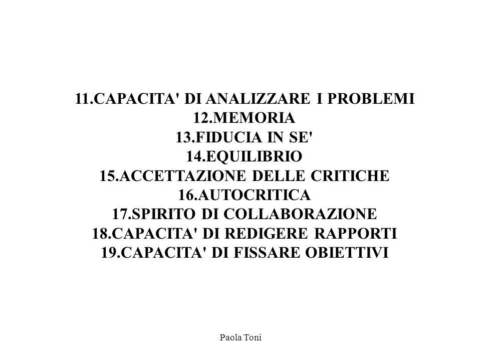 Paola Toni 11.CAPACITA' DI ANALIZZARE I PROBLEMI 12.MEMORIA 13.FIDUCIA IN SE' 14.EQUILIBRIO 15.ACCETTAZIONE DELLE CRITICHE 16.AUTOCRITICA 17.SPIRITO D