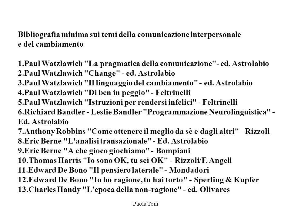 Paola Toni Bibliografia minima sui temi della comunicazione interpersonale e del cambiamento 1.Paul Watzlawich