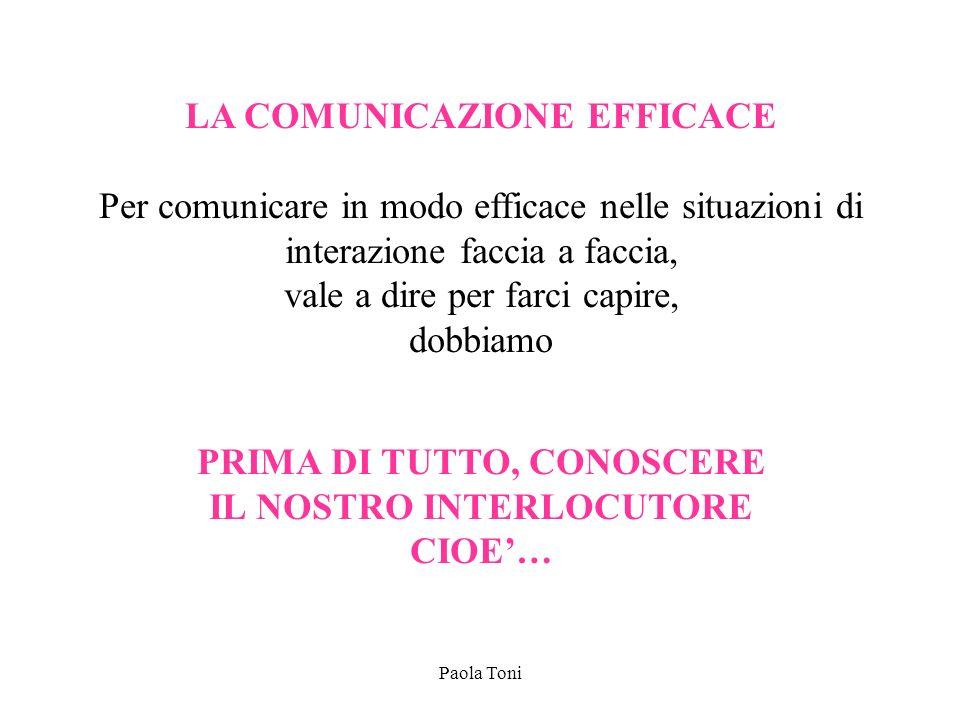 Paola Toni LA COMUNICAZIONE EFFICACE Per comunicare in modo efficace nelle situazioni di interazione faccia a faccia, vale a dire per farci capire, do