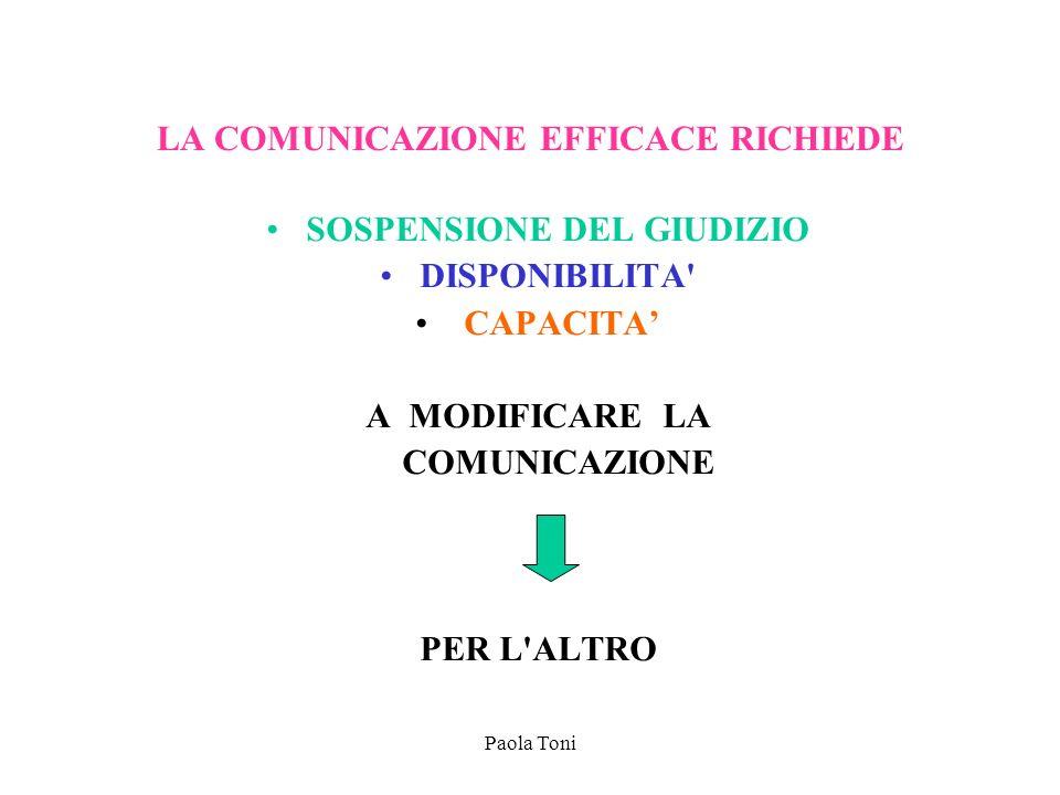 Paola Toni LA COMUNICAZIONE EFFICACE RICHIEDE SOSPENSIONE DEL GIUDIZIO DISPONIBILITA' CAPACITA A MODIFICARE LA COMUNICAZIONE PER L'ALTRO