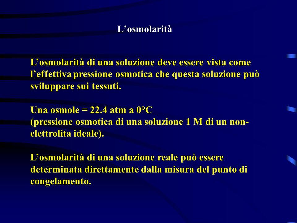 Losmolarità Losmolarità di una soluzione deve essere vista come leffettiva pressione osmotica che questa soluzione può sviluppare sui tessuti. Una osm