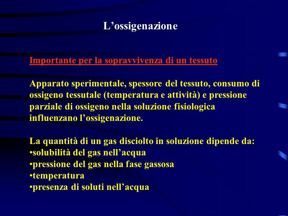 Lossigenazione Importante per la sopravvivenza di un tessuto Apparato sperimentale, spessore del tessuto, consumo di ossigeno tessutale (temperatura e