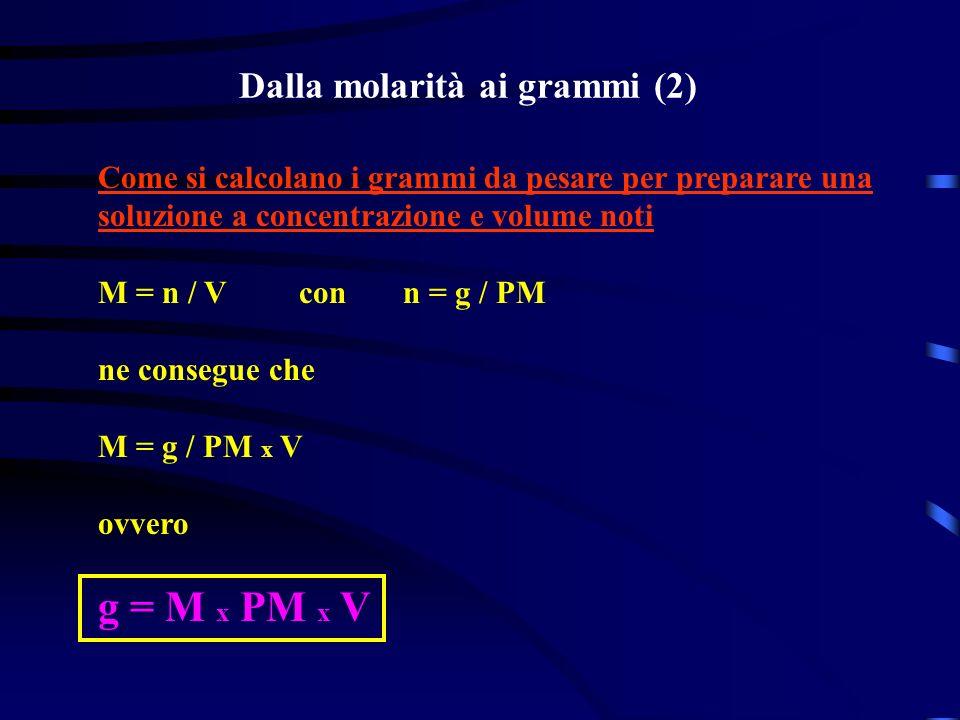 Dalla molarità ai grammi (2) Come si calcolano i grammi da pesare per preparare una soluzione a concentrazione e volume noti M = n / V con n = g / PM