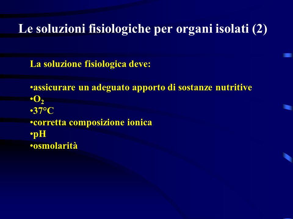 Le soluzioni fisiologiche per organi isolati (2) La soluzione fisiologica deve: assicurare un adeguato apporto di sostanze nutritive O 2 37°C corretta