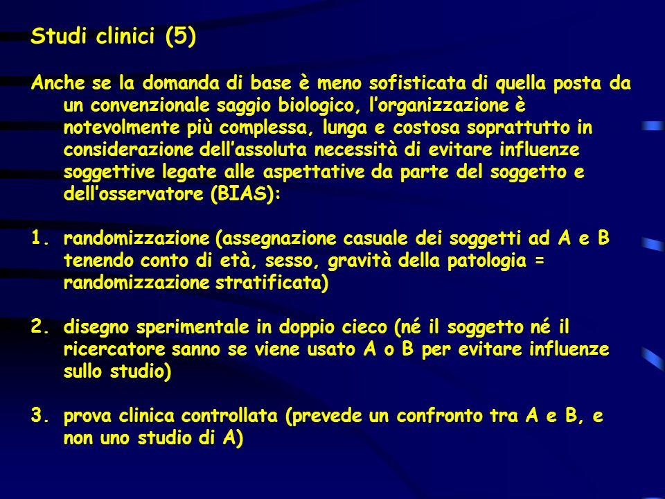 Studi clinici (5) Anche se la domanda di base è meno sofisticata di quella posta da un convenzionale saggio biologico, lorganizzazione è notevolmente