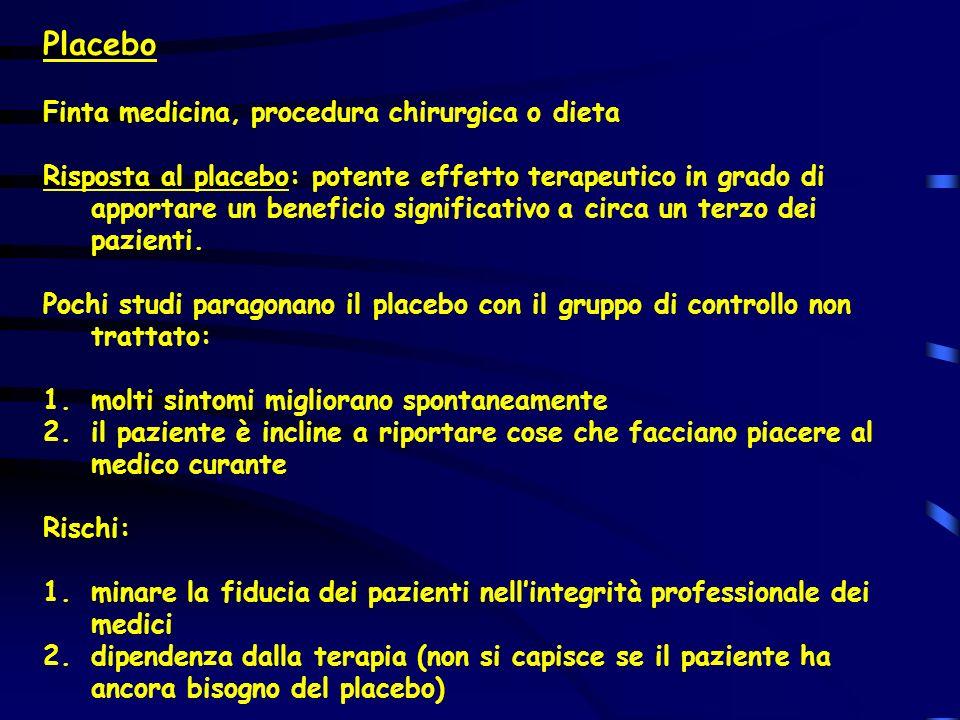 Placebo Finta medicina, procedura chirurgica o dieta Risposta al placebo: potente effetto terapeutico in grado di apportare un beneficio significativo