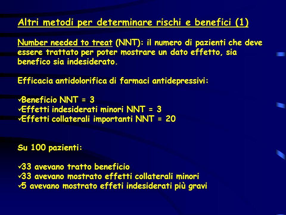 Altri metodi per determinare rischi e benefici (1) Number needed to treat (NNT): il numero di pazienti che deve essere trattato per poter mostrare un