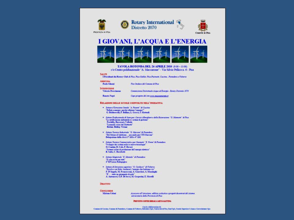 Comuni di Pisa – Cascina Pontedera - Volterra Provincia di Pisa Con la collaborazione di : Enel SpA – Belvedere SpA – Scuola Superiore S.Anna – UNIPI – Gerresheimer SpAISTITUTOCittà Insegnante di RiferimentoNumeroStudentiTematicaIndividuata I.I.S.
