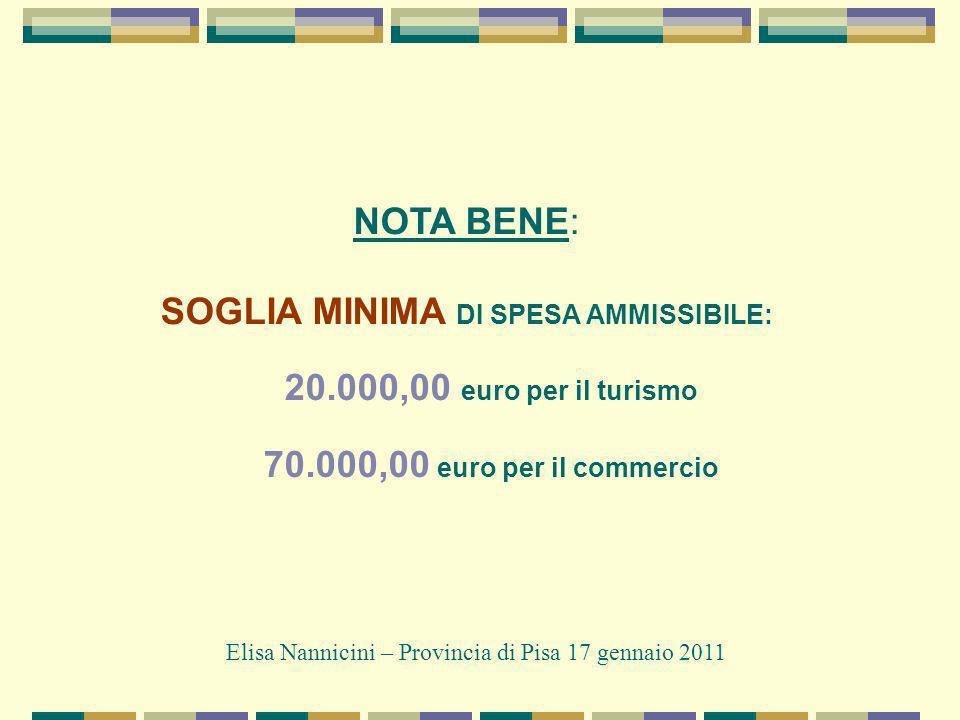 NOTA BENE: SOGLIA MINIMA DI SPESA AMMISSIBILE: 20.000,00 euro per il turismo 70.000,00 euro per il commercio Elisa Nannicini – Provincia di Pisa 17 gennaio 2011