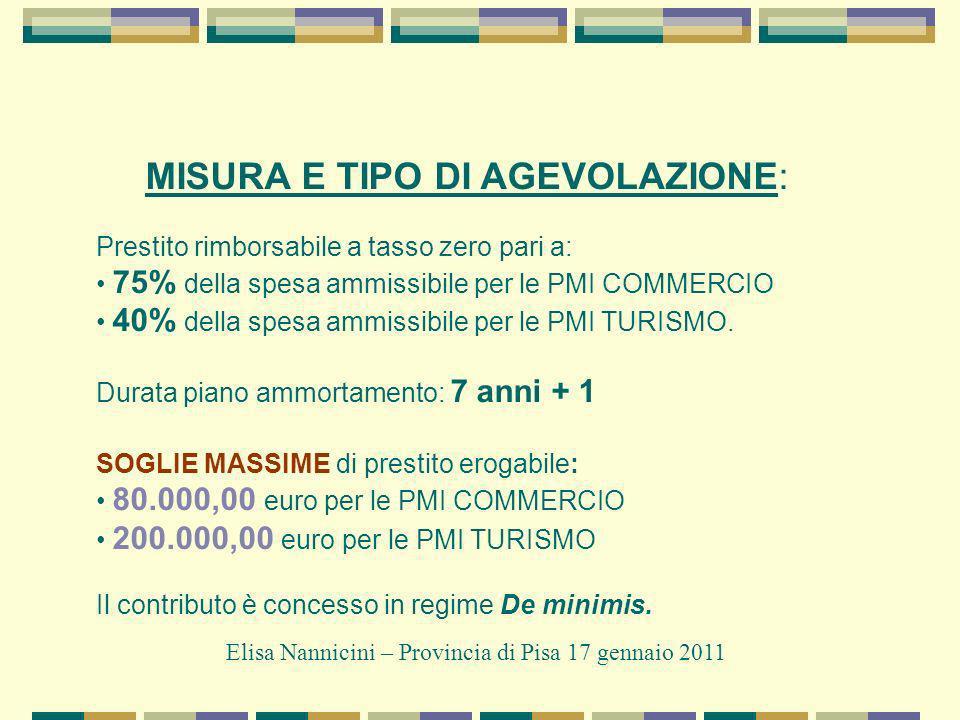 MISURA E TIPO DI AGEVOLAZIONE: Prestito rimborsabile a tasso zero pari a: 75% della spesa ammissibile per le PMI COMMERCIO 40% della spesa ammissibile per le PMI TURISMO.
