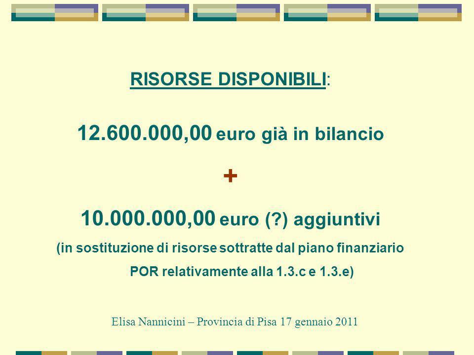 RISORSE DISPONIBILI: 12.600.000,00 euro già in bilancio + 10.000.000,00 euro (?) aggiuntivi (in sostituzione di risorse sottratte dal piano finanziario POR relativamente alla 1.3.c e 1.3.e) Elisa Nannicini – Provincia di Pisa 17 gennaio 2011