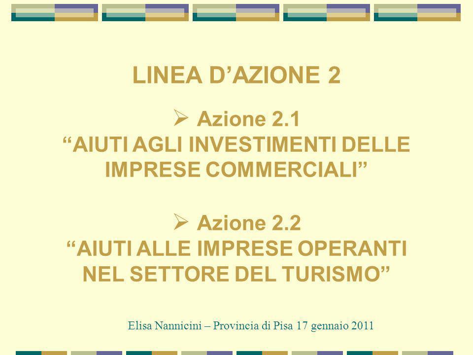 LINEA DAZIONE 2 Azione 2.1 AIUTI AGLI INVESTIMENTI DELLE IMPRESE COMMERCIALI Azione 2.2 AIUTI ALLE IMPRESE OPERANTI NEL SETTORE DEL TURISMO Elisa Nannicini – Provincia di Pisa 17 gennaio 2011