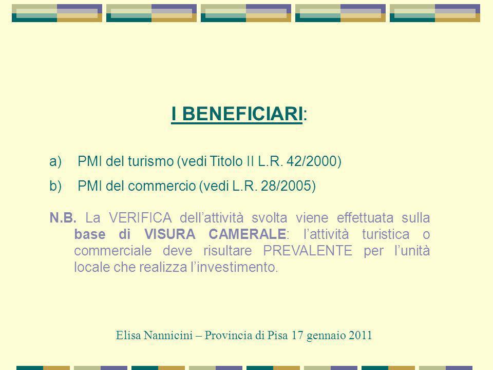 I BENEFICIARI: a) PMI del turismo (vedi Titolo II L.R.