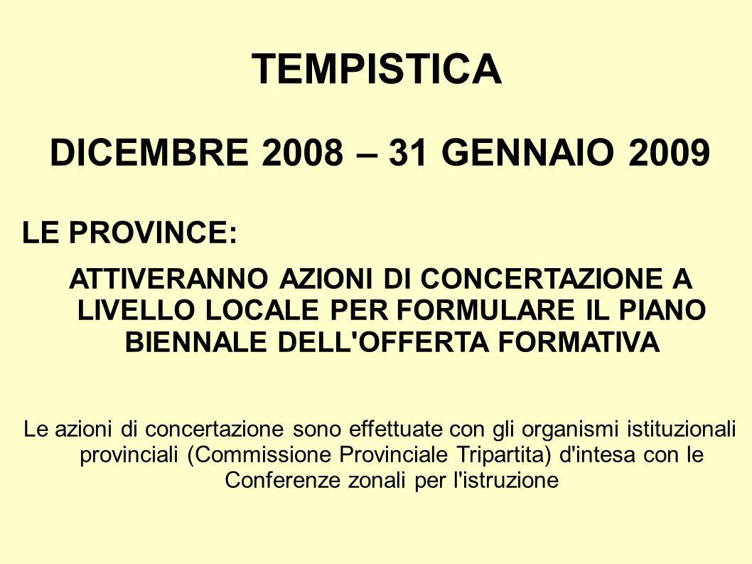 TEMPISTICA DICEMBRE 2008 – 31 GENNAIO 2009 LE PROVINCE: ATTIVERANNO AZIONI DI CONCERTAZIONE A LIVELLO LOCALE PER FORMULARE IL PIANO BIENNALE DELL OFFERTA FORMATIVA Le azioni di concertazione sono effettuate con gli organismi istituzionali provinciali (Commissione Provinciale Tripartita) d intesa con le Conferenze zonali per l istruzione