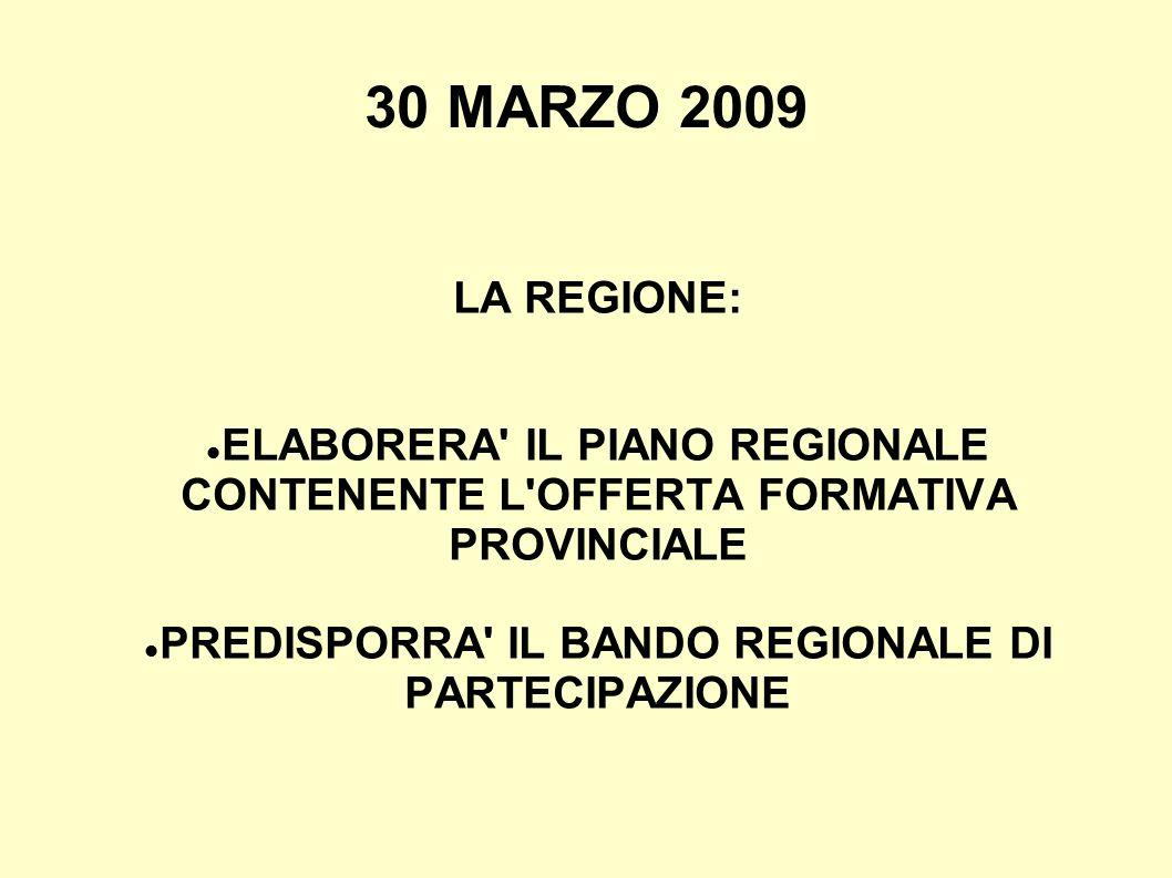 30 MARZO 2009 LA REGIONE: ELABORERA IL PIANO REGIONALE CONTENENTE L OFFERTA FORMATIVA PROVINCIALE PREDISPORRA IL BANDO REGIONALE DI PARTECIPAZIONE