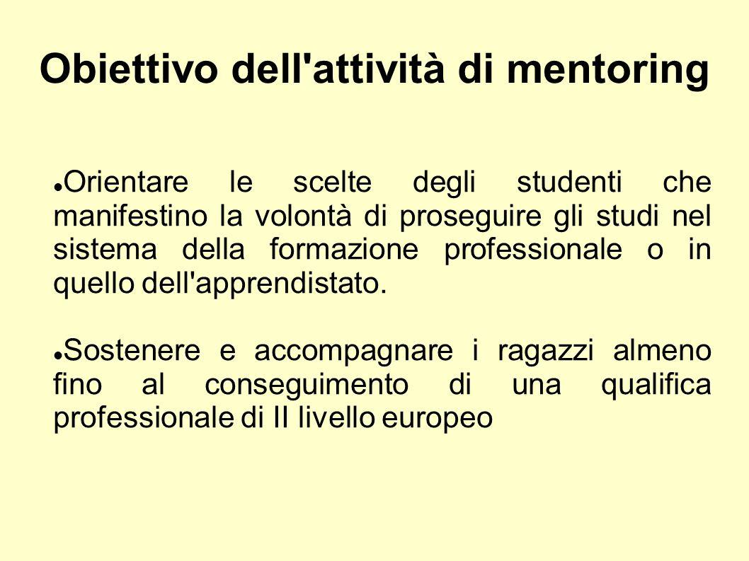 Obiettivo dell attività di mentoring Orientare le scelte degli studenti che manifestino la volontà di proseguire gli studi nel sistema della formazione professionale o in quello dell apprendistato.