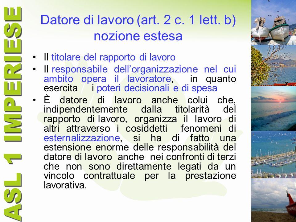 Datore di lavoro (art. 2 c. 1 lett. b) nozione estesa Il titolare del rapporto di lavoro Il responsabile dellorganizzazione nel cui ambito opera il la