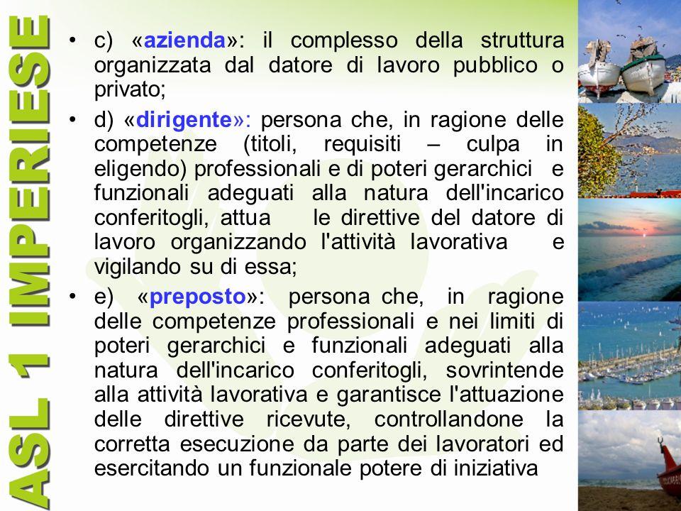 c) «azienda»: il complesso della struttura organizzata dal datore di lavoro pubblico o privato; d) «dirigente»: persona che, in ragione delle competen