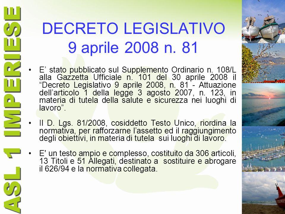 DECRETO LEGISLATIVO 9 aprile 2008 n. 81 E stato pubblicato sul Supplemento Ordinario n. 108/L alla Gazzetta Ufficiale n. 101 del 30 aprile 2008 il Dec