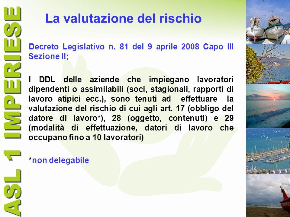 La valutazione del rischio Decreto Legislativo n. 81 del 9 aprile 2008 Capo III Sezione II; I DDL delle aziende che impiegano lavoratori dipendenti o