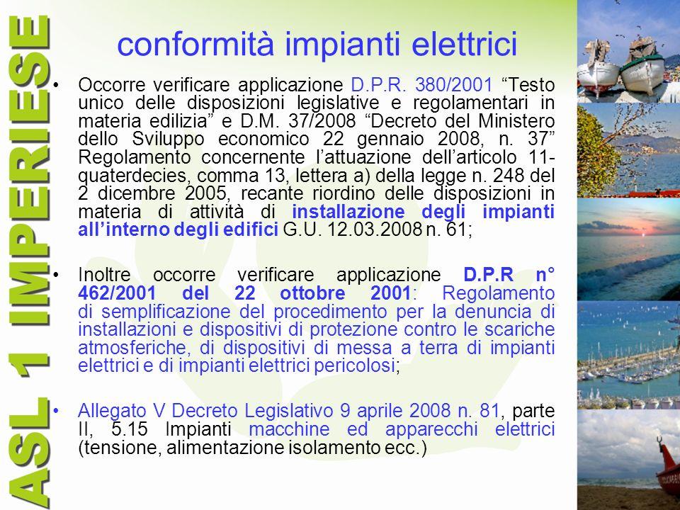 conformità impianti elettrici Occorre verificare applicazione D.P.R. 380/2001 Testo unico delle disposizioni legislative e regolamentari in materia ed