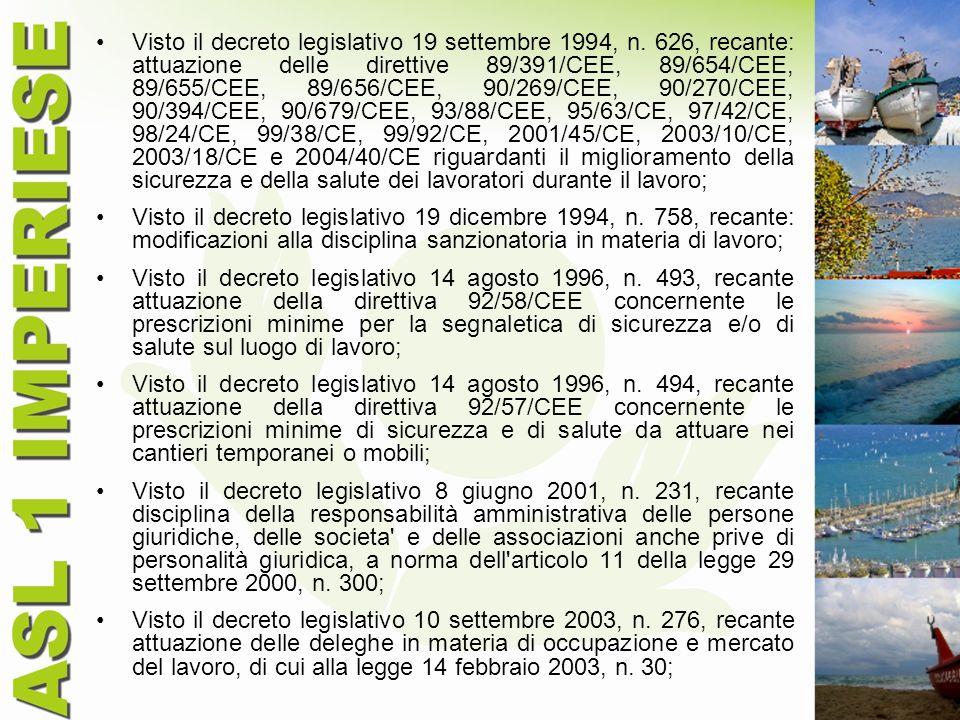 Visto il decreto legislativo 19 settembre 1994, n. 626, recante: attuazione delle direttive 89/391/CEE, 89/654/CEE, 89/655/CEE, 89/656/CEE, 90/269/CEE