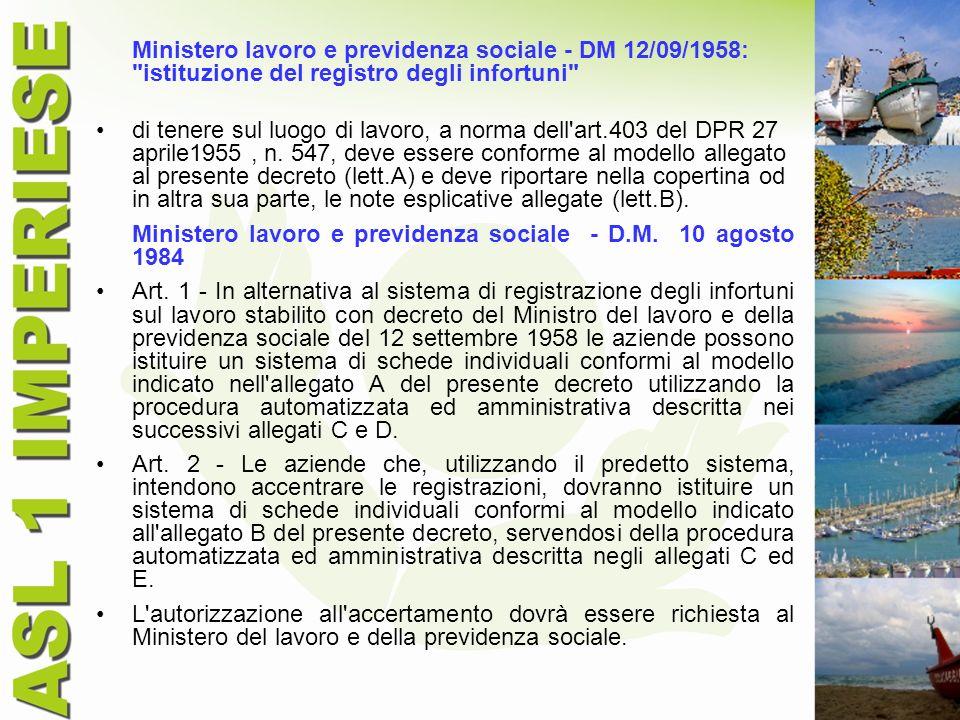 Ministero lavoro e previdenza sociale - DM 12/09/1958: